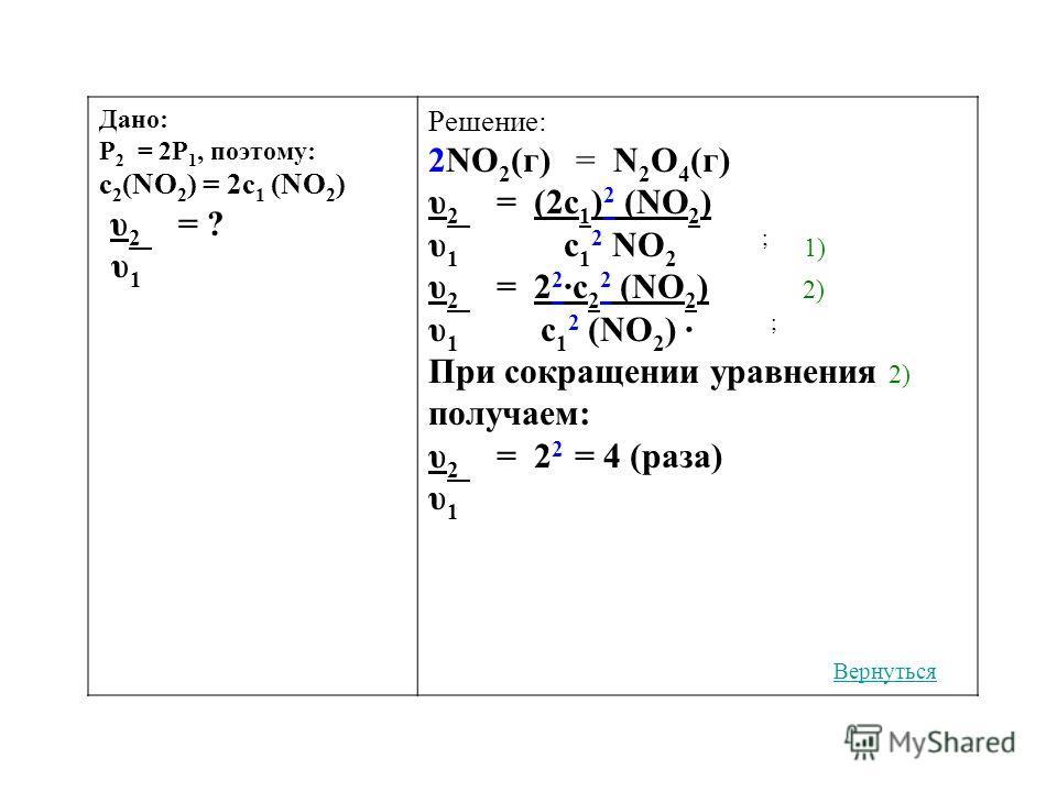 Дано: Р 2 = 2Р 1, поэтому: c 2 (NO 2 ) = 2c 1 (NO 2 ) υ 2 = ? υ 1 Решение: 2NO 2 (г) = N 2 O 4 (г) υ 2 = (2c 1 ) 2 (NO 2 ) υ 1 c 1 2 NO 2 ; 1) υ 2 = 2 2 ·c 2 2 (NO 2 ) 2) υ 1 c 1 2 (NO 2 ) · ; При сокращении уравнения 2) получаем: υ 2 = 2 2 = 4 (раза
