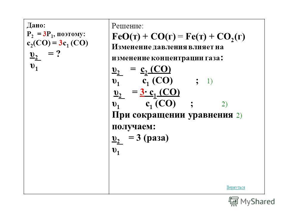Дано: Р 2 = 3Р 1, поэтому: c 2 (CO) = 3c 1 (CO) υ 2 = ? υ 1 Решение: FeO(т) + CO(г) = Fe(т) + CO 2 (г) Изменение давления влияет на изменение концентрации газа : υ 2 = c 2 (СO) υ 1 c 1 (СO) ; 1) υ 2 = 3· c 1 (СO) υ 1 c 1 (СO) ; 2) При сокращении урав