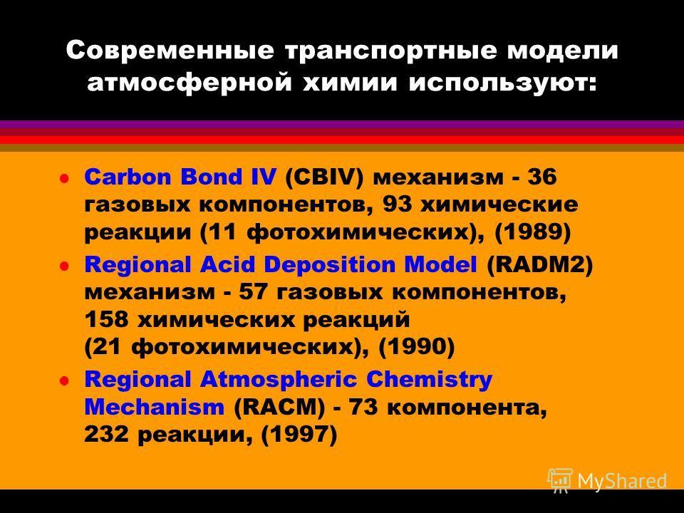 Современные транспортные модели атмосферной химии используют: l Carbon Bond IV (CBIV) механизм - 36 газовых компонентов, 93 химические реакции (11 фотохимических), (1989) l Regional Acid Deposition Model (RADM2) механизм - 57 газовых компонентов, 158