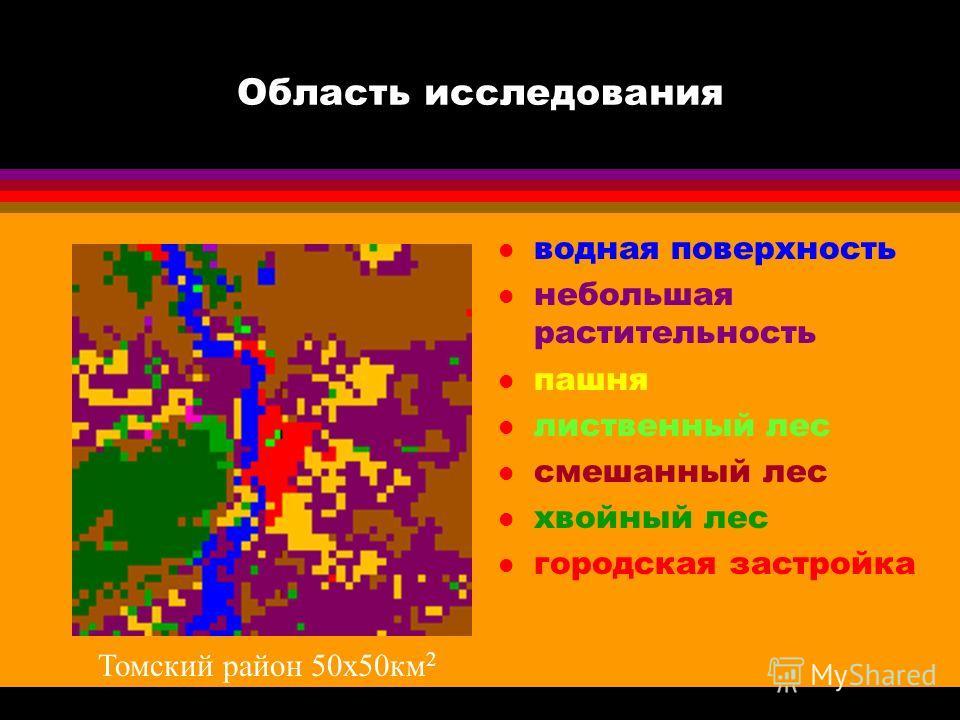 Область исследования l водная поверхность l небольшая растительность l пашня l лиственный лес l смешанный лес l хвойный лес l городская застройка Томский район 50 х 50 км 2