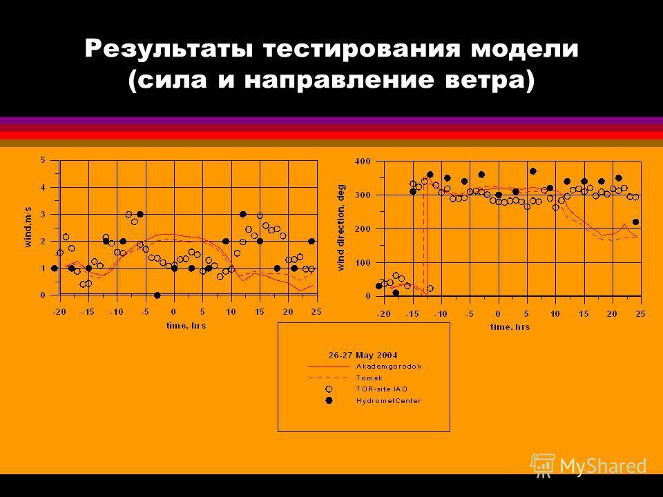 Результаты тестирования модели (сила и направление ветра)