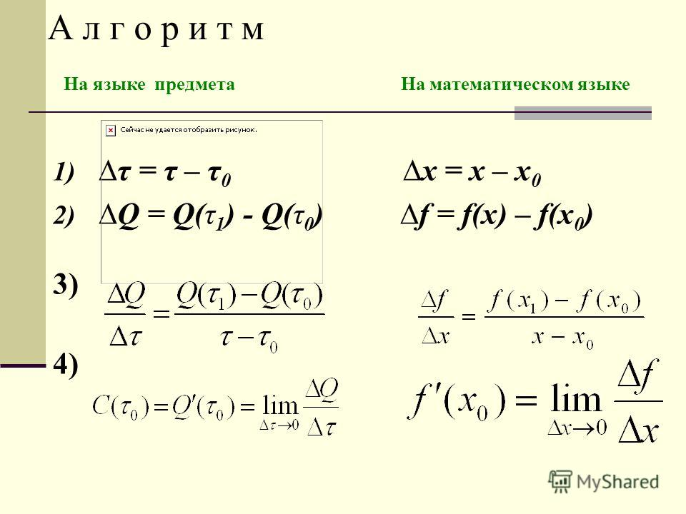 1)τ = τ – τ 0 x = x – x 0 2) Q = Q(τ 1 ) - Q(τ 0 ) f = f(x) – f(x 0 ) 3) 4) А л г о р и т м На языке предмета На математическом языке
