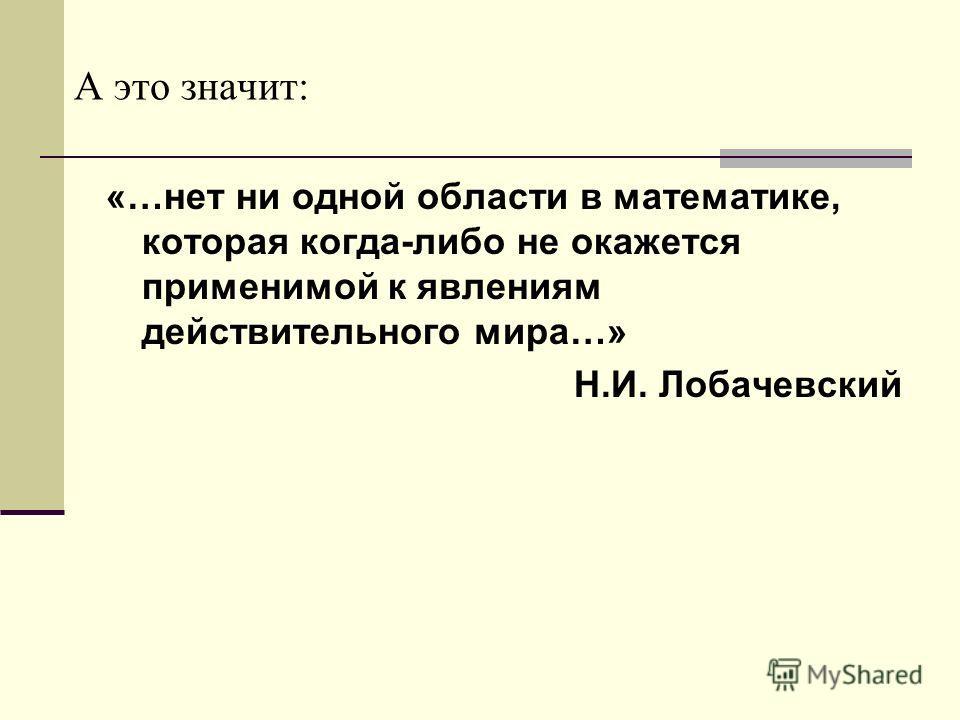 А это значит: «…нет ни одной области в математике, которая когда-либо не окажется применимой к явлениям действительного мира…» Н.И. Лобачевский