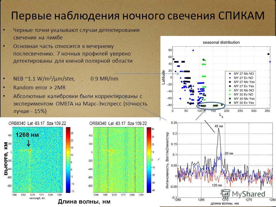 Первые наблюдения ночного свечения СПИКАМ Черные точки указывают случаи детектирования свечения на лимбе Основная часть относится к вечернему послесвечению. 7 ночных профилей уверено детектированы для южной полярной области NEB ~1.1 W/m 2 /µm/ster, 0