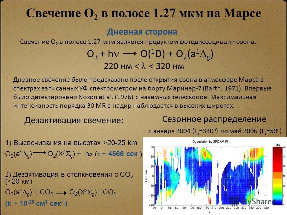 Дезактивация свечение: 1) Высвечивания на высотах >20-25 km O 2 (a 1 g ) O 2 (X 3 g ) + h ~ 4566 сек Дезактивация в столкновения с CO 2 (