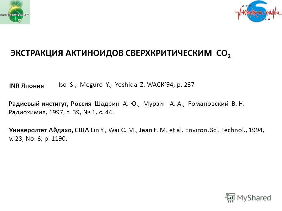 Iso S., Meguro Y., Yoshida Z. WAСК94, p. 237 INR Япония Радиевый институт, Россия Шадрин А. Ю., Мурзин А. А., Романовский В. Н. Радиохимия, 1997, т. 39, 1, с. 44. Университет Айдахо, США Lin Y., Wai C. M., Jean F. M. et al. Environ. Sci. Technol., 19