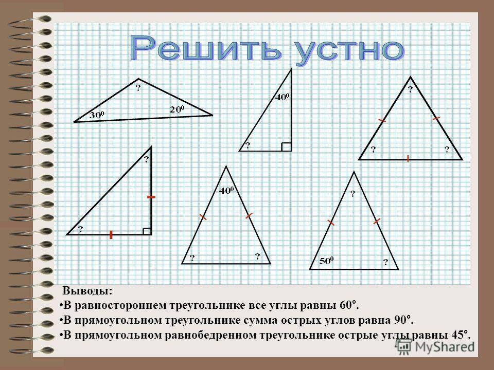 Выводы: В равностороннем треугольнике все углы равны 60 °. В прямоугольном треугольнике сумма острых углов равна 90 °. В прямоугольном равнобедренном треугольнике острые углы равны 45 °.