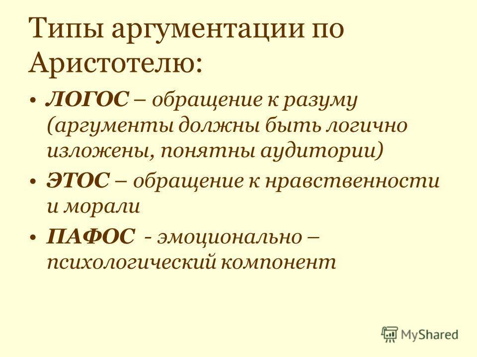Типы аргументации по Аристотелю: ЛОГОС – обращение к разуму (аргументы должны быть логично изложены, понятны аудитории) ЭТОС – обращение к нравственности и морали ПАФОС - эмоционально – психологический компонент