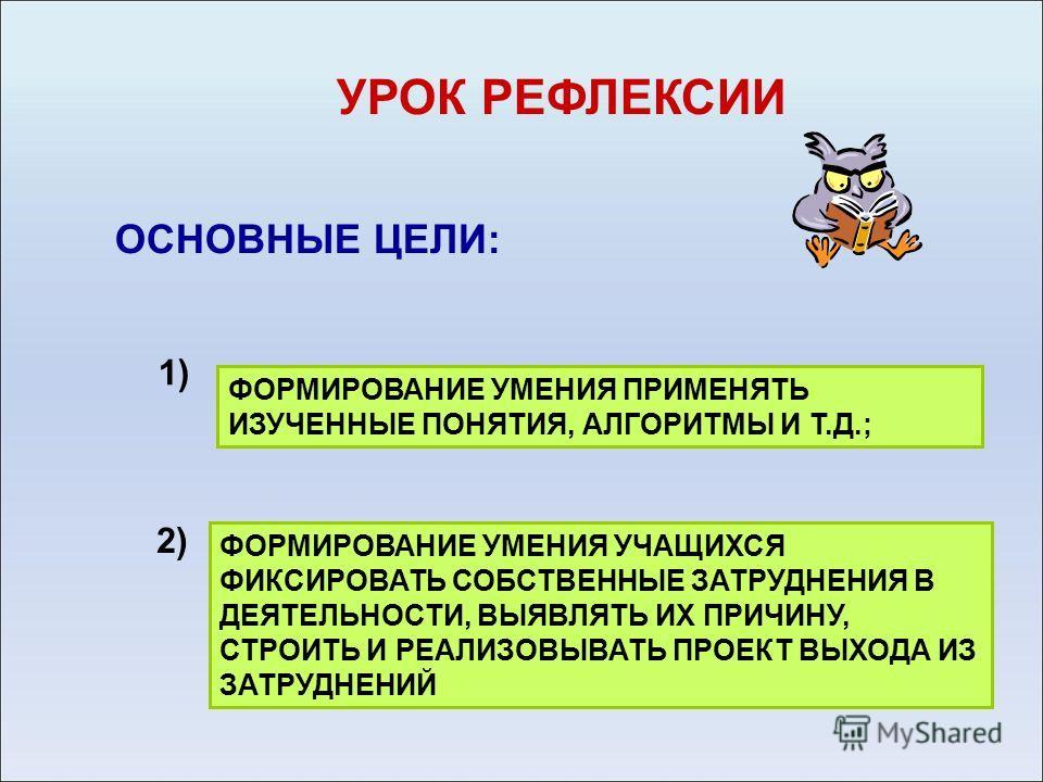 УРОК РЕФЛЕКСИИ ОСНОВНЫЕ ЦЕЛИ: ФОРМИРОВАНИЕ УМЕНИЯ ПРИМЕНЯТЬ ИЗУЧЕННЫЕ ПОНЯТИЯ, АЛГОРИТМЫ И Т.Д.; ФОРМИРОВАНИЕ УМЕНИЯ УЧАЩИХСЯ ФИКСИРОВАТЬ СОБСТВЕННЫЕ ЗАТРУДНЕНИЯ В ДЕЯТЕЛЬНОСТИ, ВЫЯВЛЯТЬ ИХ ПРИЧИНУ, СТРОИТЬ И РЕАЛИЗОВЫВАТЬ ПРОЕКТ ВЫХОДА ИЗ ЗАТРУДНЕНИ