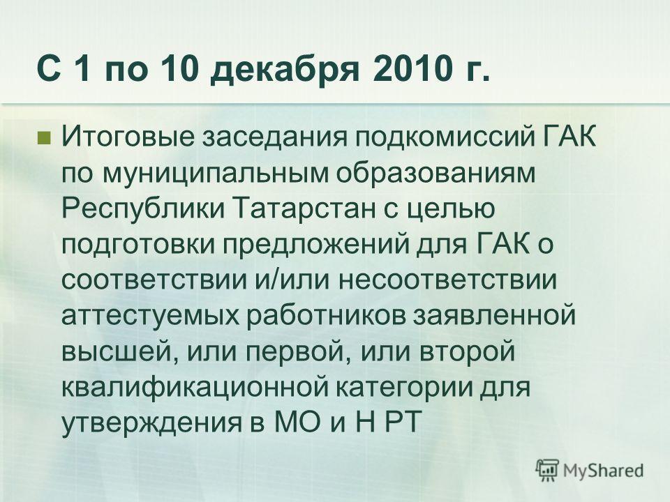 С 1 по 10 декабря 2010 г. Итоговые заседания подкомиссий ГАК по муниципальным образованиям Республики Татарстан с целью подготовки предложений для ГАК о соответствии и/или несоответствии аттестуемых работников заявленной высшей, или первой, или второ