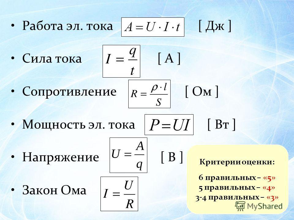 Работа эл. тока [ Дж ] Сила тока [ A ] Сопротивление [ Ом ] Мощность эл. тока [ Вт ] Напряжение [ B ] Закон Ома Критерии оценки: 6 правильных – «5» 5 правильных – «4» 3-4 правильных – «3»