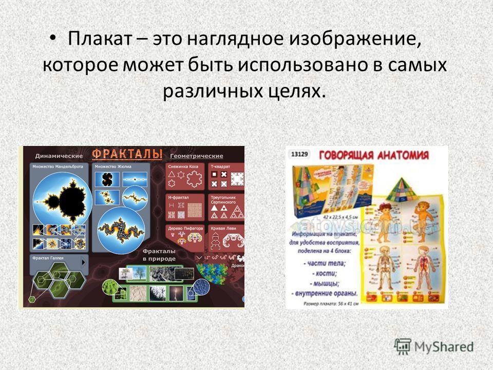 Плакат – это наглядное изображение, которое может быть использовано в самых различных целях.