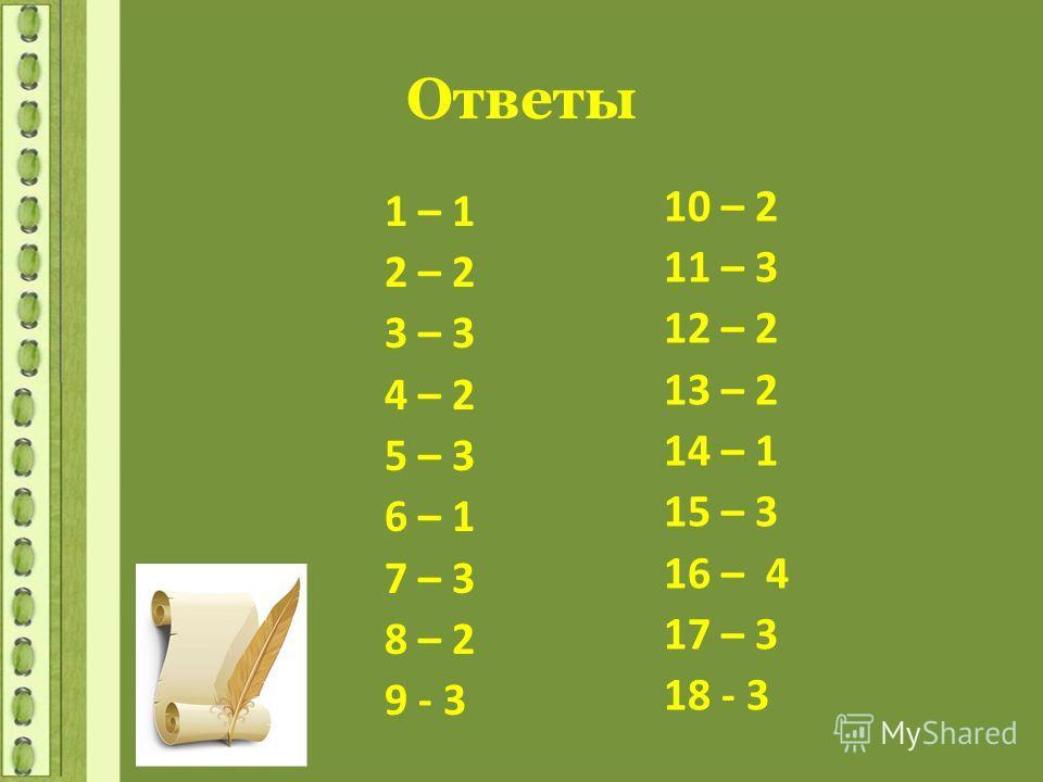 Ответы 1 – 1 2 – 2 3 – 3 4 – 2 5 – 3 6 – 1 7 – 3 8 – 2 9 - 3 10 – 2 11 – 3 12 – 2 13 – 2 14 – 1 15 – 3 16 – 4 17 – 3 18 - 3