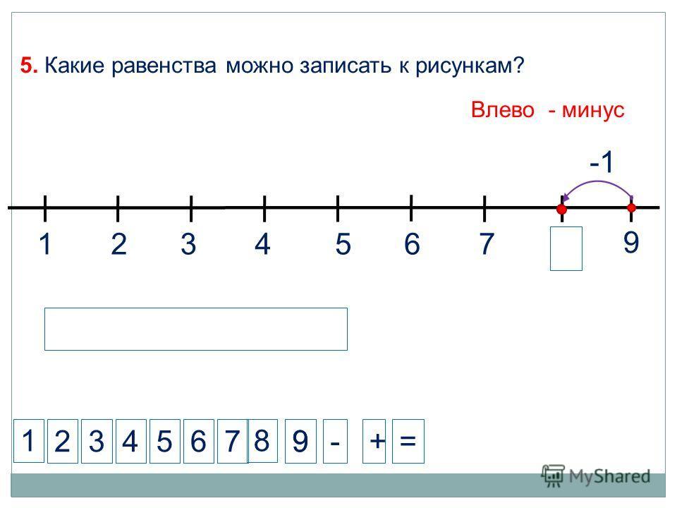 8 1 234-+= 5. Какие равенства можно записать к рисункам? 57 8 9 99 1324567 6 Влево - минус