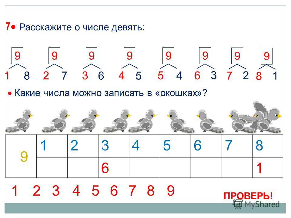 7 1 99 2 9 3 9 4 9 5 87654 9 6 3 9 7 2 12345678 61 9 Какие числа можно записать в «окошках»? 9 8 1 ПРОВЕРЬ! 123456789