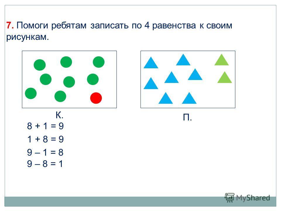 К. П. 8 + 1 = 9 1 + 8 = 9 9 – 1 = 8 9 – 8 = 1 7. Помоги ребятам записать по 4 равенства к своим рисункам.