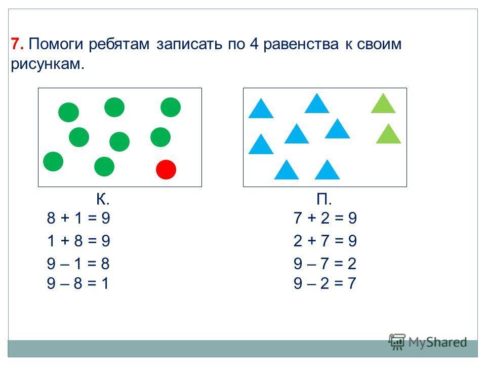 К.П. 8 + 1 = 9 1 + 8 = 9 9 – 1 = 8 9 – 8 = 1 7 + 2 = 9 2 + 7 = 9 9 – 7 = 2 9 – 2 = 7 7. Помоги ребятам записать по 4 равенства к своим рисункам.