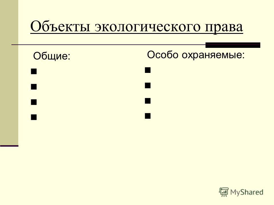 Объекты экологического права Общие: Особо охраняемые: