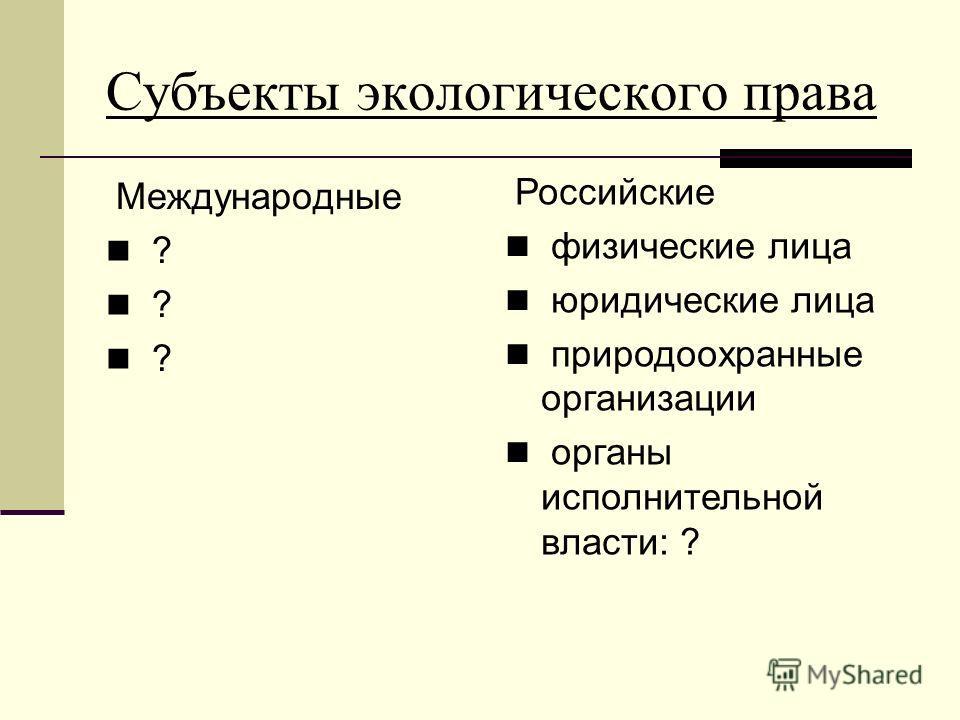 Субъекты экологического права Международные ? Российские физические лица юридические лица природоохранные организации органы исполнительной власти: ?