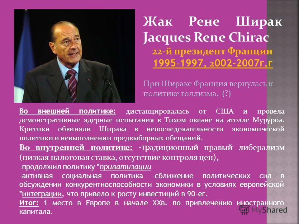 Жак Рене Ширак Jacques Rene Chirac 22-й президент Франции 1995 - 1997, 2 002-2007 г.г При Шираке Франция вернулась к политике голлизма. (?) Во внешней политике: дистанцировалась от США и провела демонстративные ядерные испытания в Тихом океане на ато