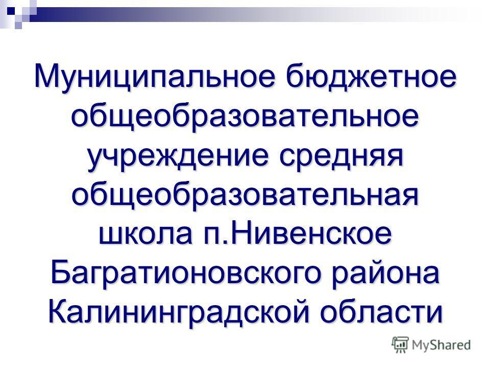 Муниципальное бюджетное общеобразовательное учреждение средняя общеобразовательная школа п.Нивенское Багратионовского района Калининградской области