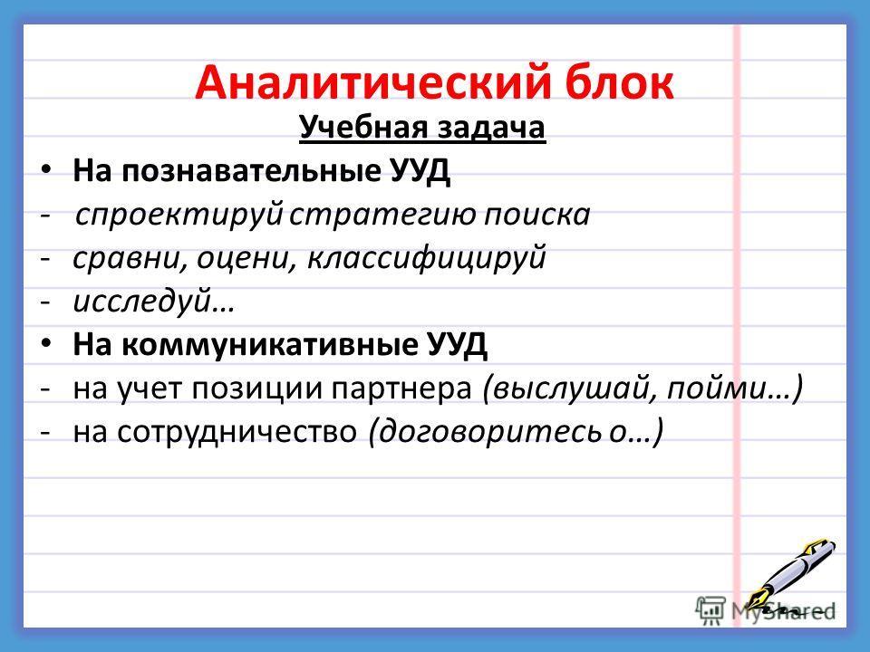 Аналитический блок Учебная задача На познавательные УУД - спроектируй стратегию поиска -сравни, оцени, классифицируй -исследуй… На коммуникативные УУД -на учет позиции партнера (выслушай, пойми…) -на сотрудничество (договоритесь о…)
