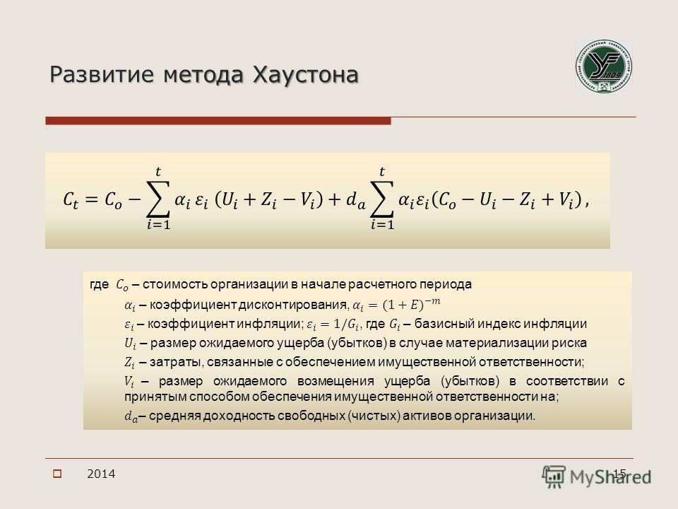 Развитие метода Хаустона 201415