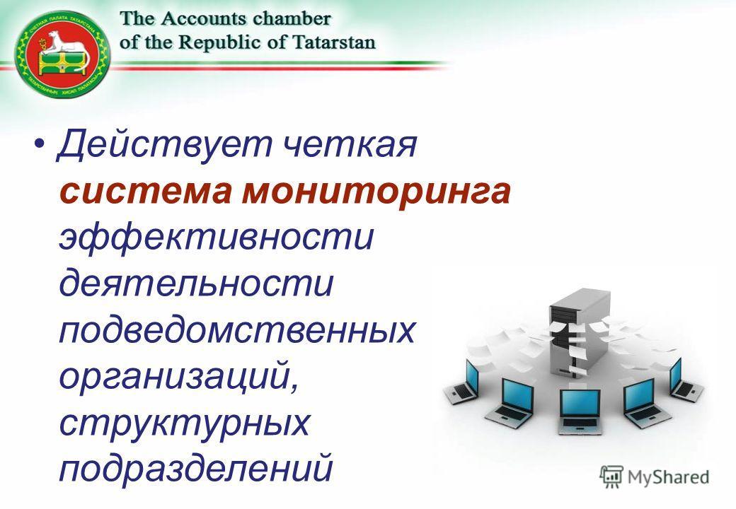 Действует четкая система мониторинга эффективности деятельности подведомственных организаций, структурных подразделений