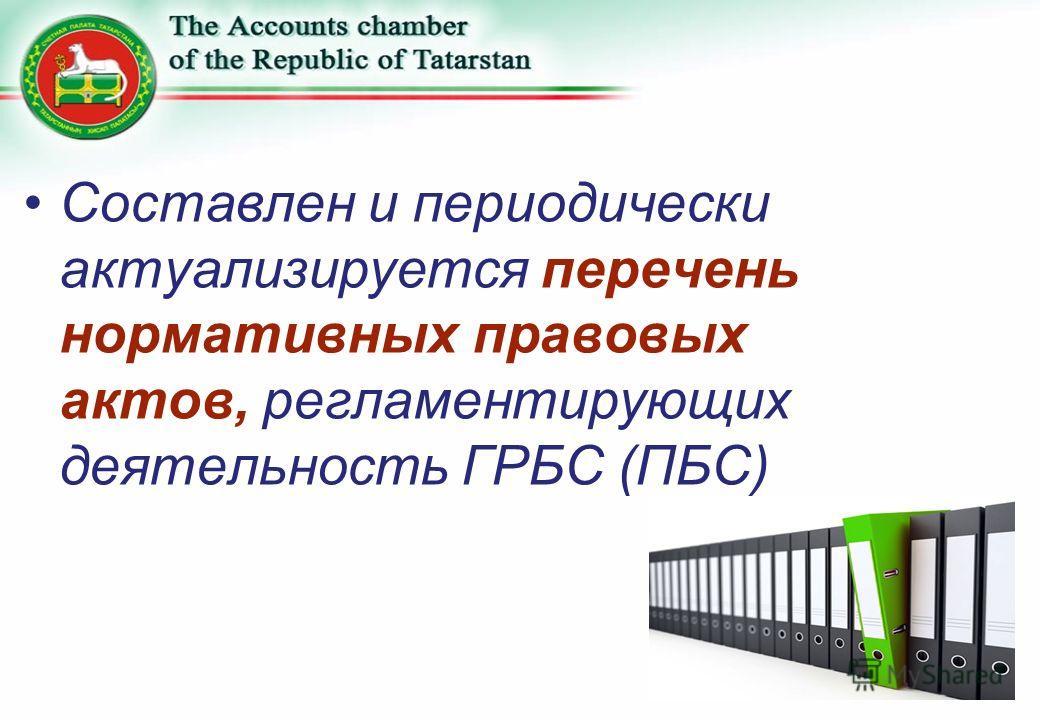 Составлен и периодически актуализируется перечень нормативных правовых актов, регламентирующих деятельность ГРБС (ПБС)