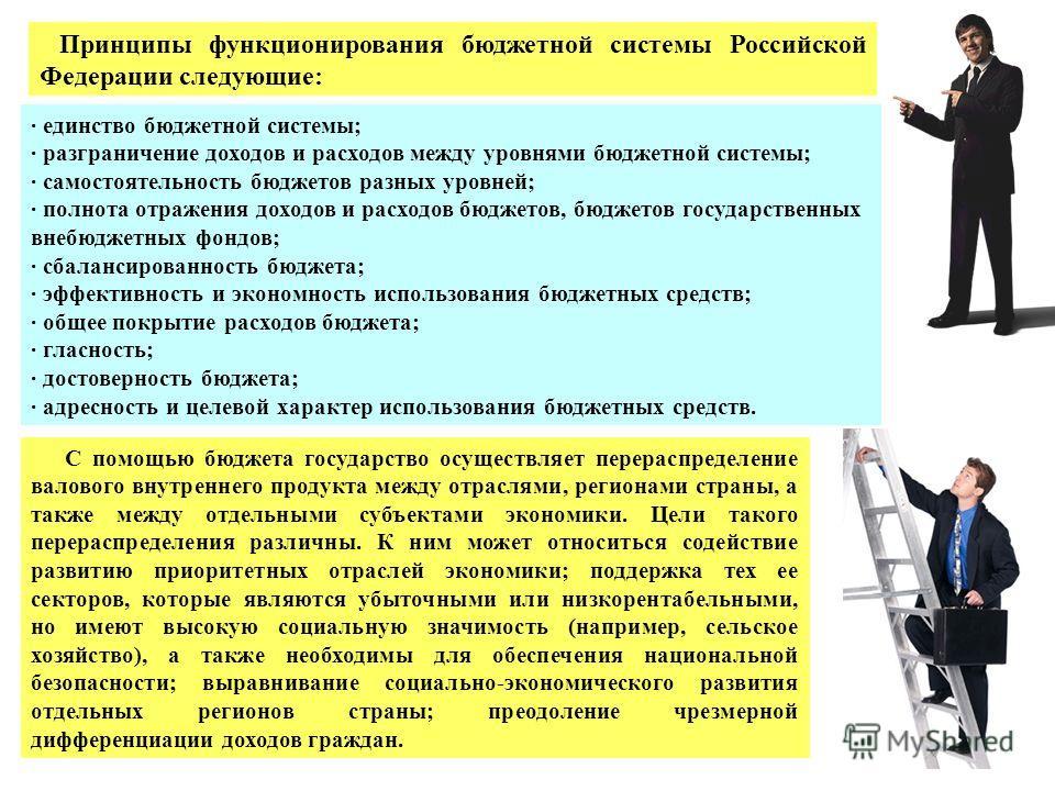 Принципы функционирования бюджетной системы Российской Федерации следующие: · единство бюджетной системы; · разграничение доходов и расходов между уровнями бюджетной системы; · самостоятельность бюджетов разных уровней; · полнота отражения доходов и