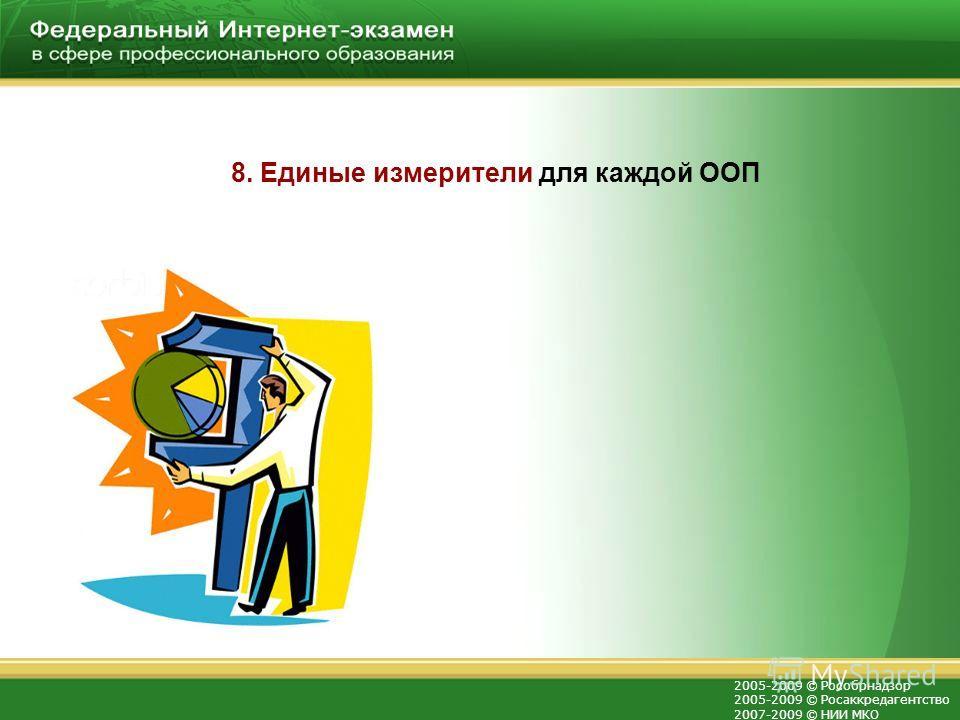 2005-2009 © Рособрнадзор 2005-2009 © Росаккредагентство 2007-2009 © НИИ МКО 8. Единые измерители для каждой ООП