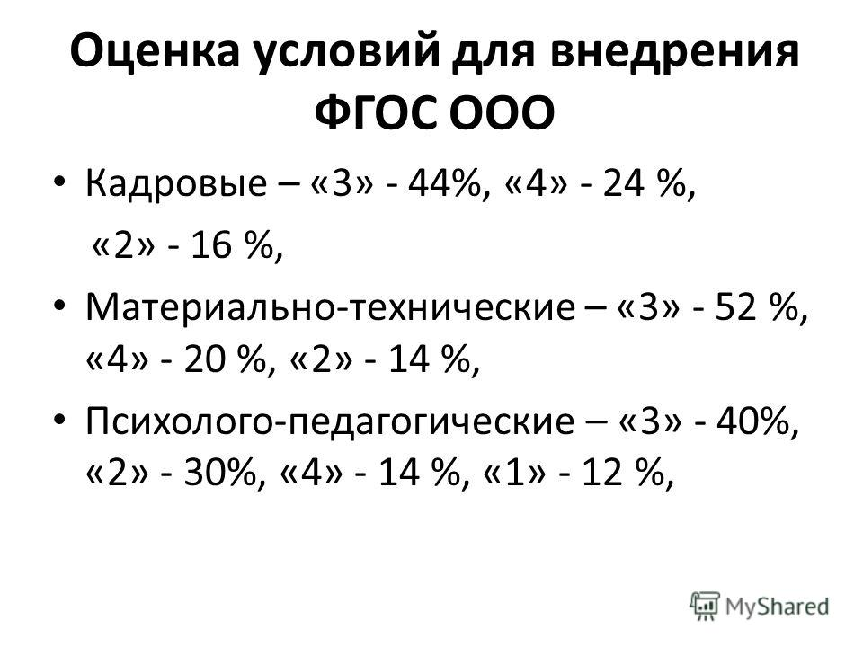 Оценка условий для внедрения ФГОС ООО Кадровые – «3» - 44%, «4» - 24 %, «2» - 16 %, Материально-технические – «3» - 52 %, «4» - 20 %, «2» - 14 %, Психолого-педагогические – «3» - 40%, «2» - 30%, «4» - 14 %, «1» - 12 %,