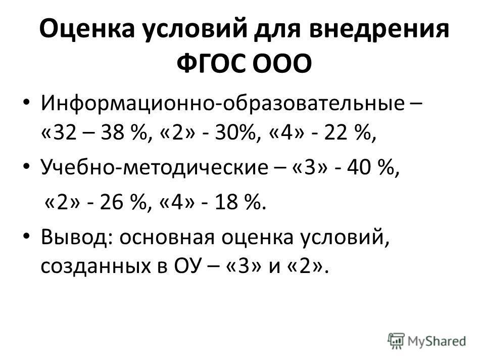 Оценка условий для внедрения ФГОС ООО Информационно-образовательные – «32 – 38 %, «2» - 30%, «4» - 22 %, Учебно-методические – «3» - 40 %, «2» - 26 %, «4» - 18 %. Вывод: основная оценка условий, созданных в ОУ – «3» и «2».