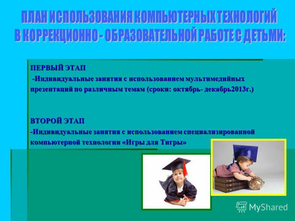 ПЕРВЫЙ ЭТАП -Индивидуальные занятия с использованием мультимедийных -Индивидуальные занятия с использованием мультимедийных презентаций по различным темам (сроки: октябрь- декабрь 2013 г.) ВТОРОЙ ЭТАП -Индивидуальные занятия с использованием специали