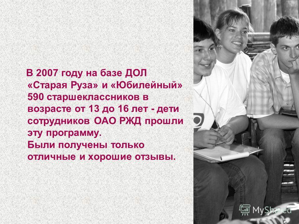 7 В 2007 году на базе ДОЛ «Старая Руза» и «Юбилейный» 590 старшеклассников в возрасте от 13 до 16 лет - дети сотрудников ОАО РЖД прошли эту программу. Были получены только отличные и хорошие отзывы.