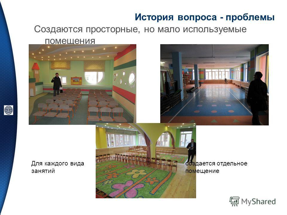 История вопроса - проблемы Создаются просторные, но мало используемые помещения Для каждого вида занятий создается отдельное помещение