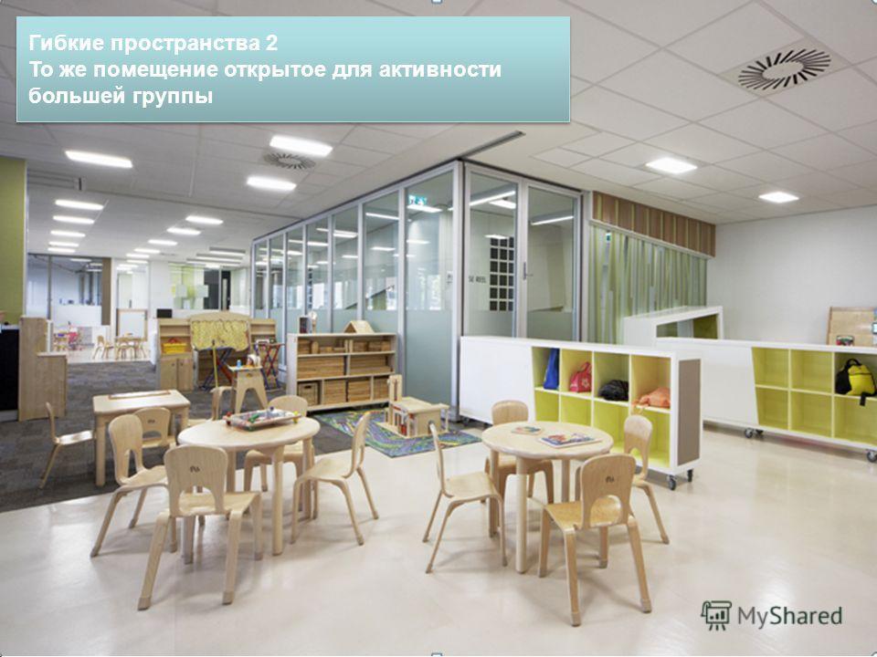 Гибкие пространства 2 То же помещение открытое для активности большей группы Гибкие пространства 2 То же помещение открытое для активности большей группы