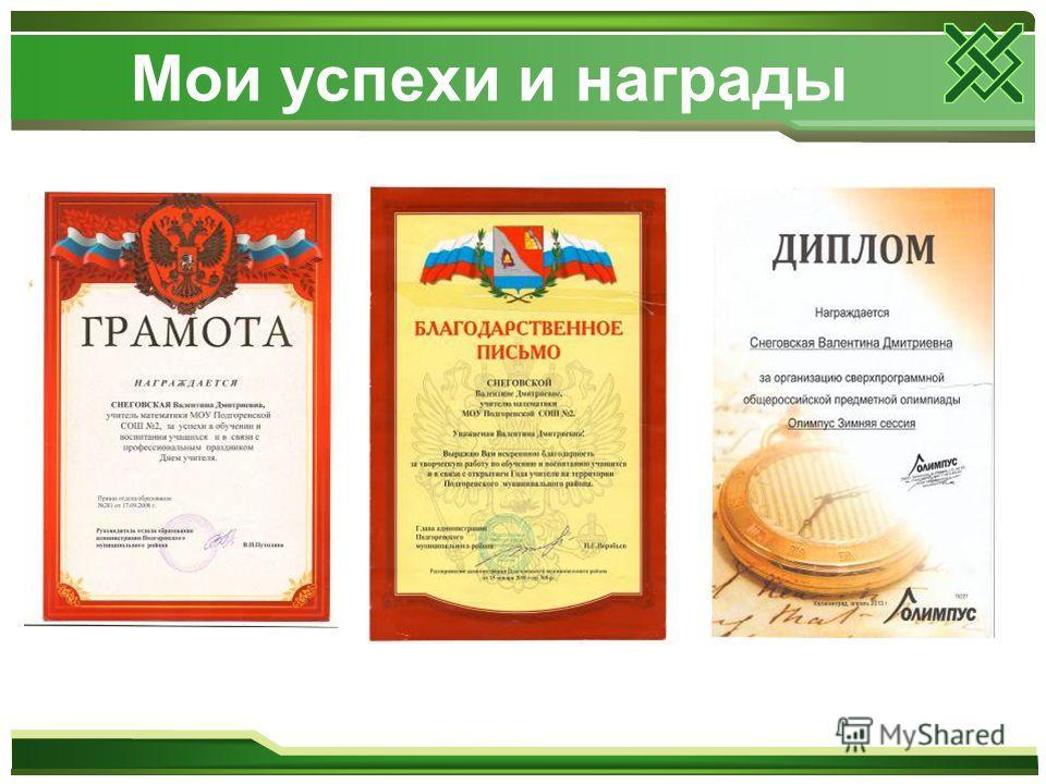 Мои успехи и награды