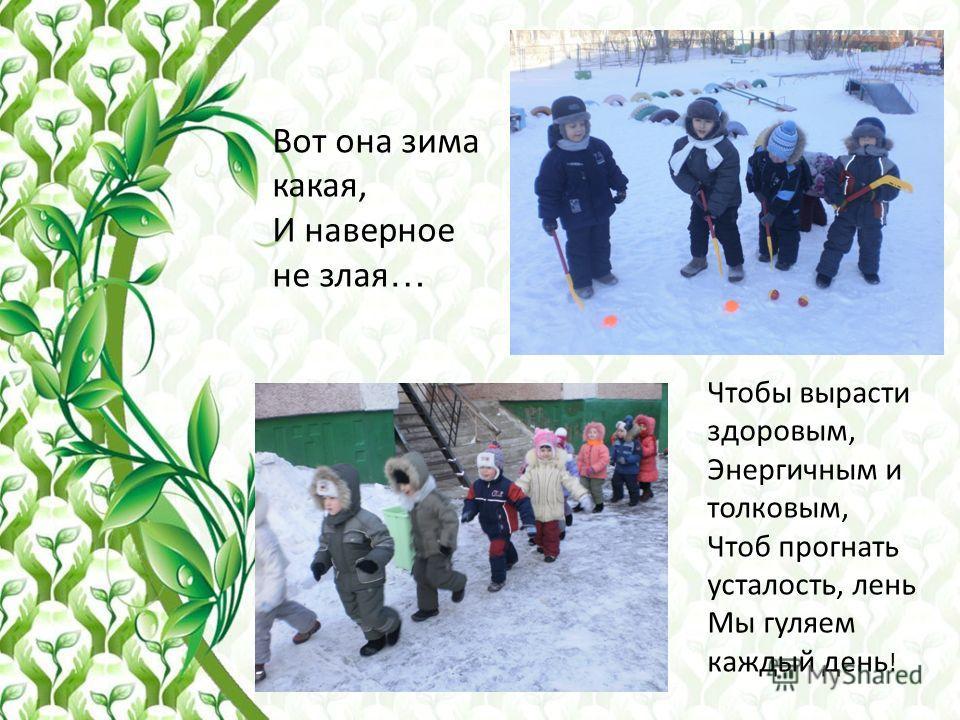 Вот она зима какая, И наверное не злая … Чтобы вырасти здоровым, Энергичным и толковым, Чтоб прогнать усталость, лень Мы гуляем каждый день !