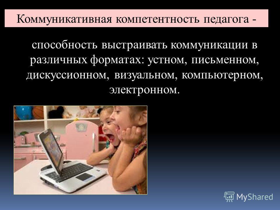 Коммуникативная компетентность педагога - способность выстраивать коммуникации в различных форматах: устном, письменном, дискуссионном, визуальном, компьютерном, электронном.