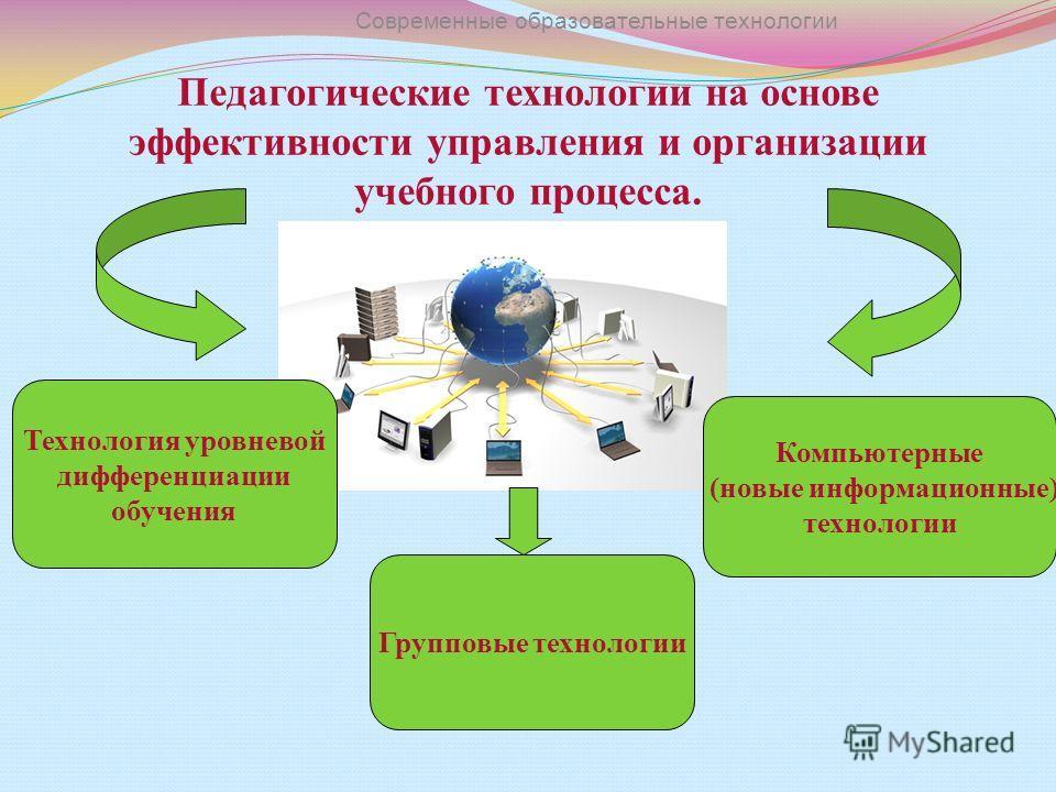 Педагогические технологии на основе эффективности управления и организации учебного процесса. Современные образовательные технологии Технология уровневой дифференциации обучения Групповые технологии Компьютерные (новые информационные) технологии