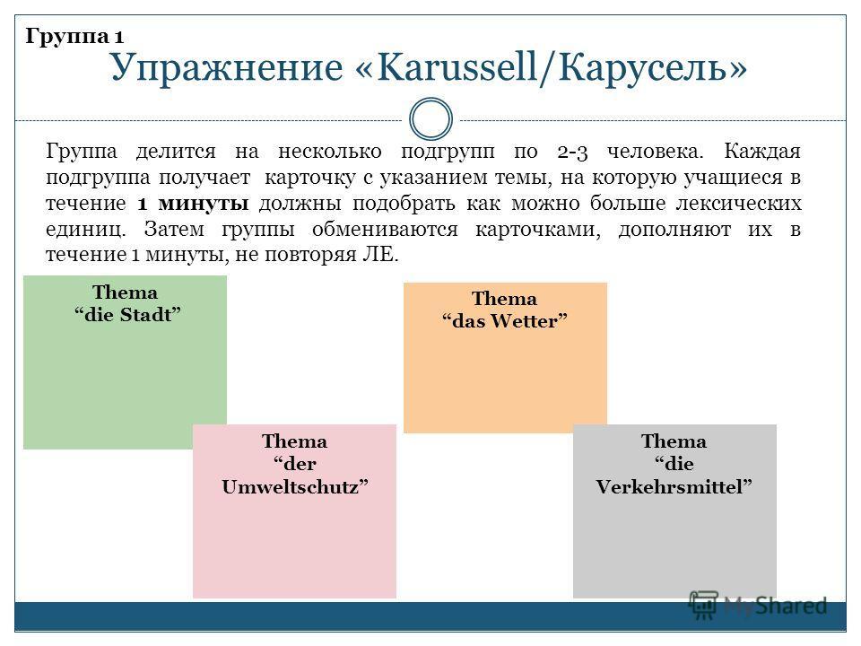 Группа 1 Упражнение «Karussell/Карусель» Thema die Stadt Группа делится на несколько подгрупп по 2-3 человека. Каждая подгруппа получает карточку с указанием темы, на которую учащиеся в течение 1 минуты должны подобрать как можно больше лексических е