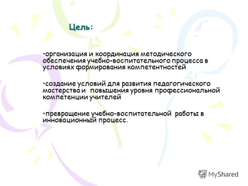 Цель: организация и координация методического обеспечения учебно-воспитательного процесса в условиях формирования компетентностей организация и координация методического обеспечения учебно-воспитательного процесса в условиях формирования компетентнос
