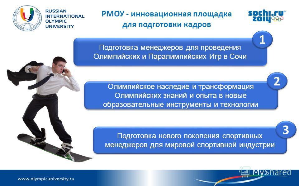 РМОУ - инновационная площадка для подготовки кадров Подготовка менеджеров для проведения Олимпийских и Паралимпийских Игр в Сочи Олимпийское наследие и трансформация Олимпийских знаний и опыта в новые образовательные инструменты и технологии Подготов