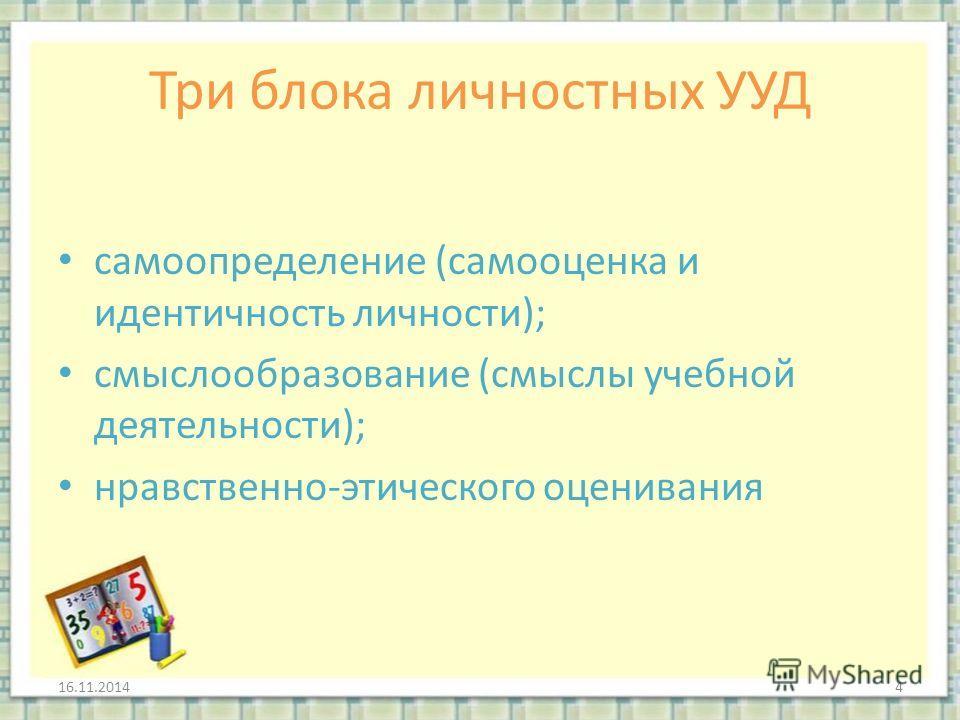 Три блока личностных УУД самоопределение (самооценка и идентичность личности); смыслообразование (смыслы учебной деятельности); нравственно-этического оценивания 16.11.20144