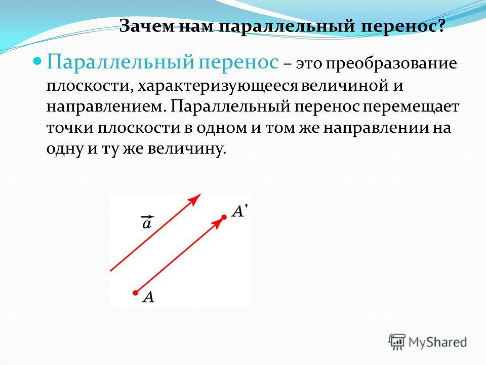 Параллельный перенос – это преобразование плоскости, характеризующееся величиной и направлением. Параллельный перенос перемещает точки плоскости в одном и том же направлении на одну и ту же величину. Зачем нам параллельный перенос?
