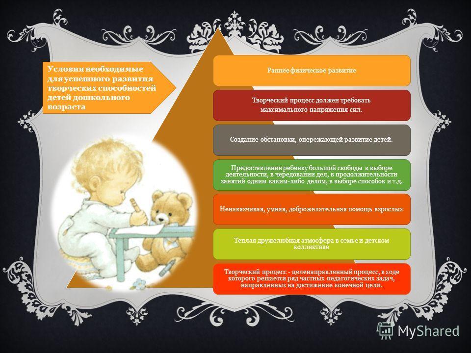Раннее физическое развитие Творческий процесс должен требовать максимального напряжения сил. Создание обстановки, опережающей развитие детей. Предоставление ребенку большой свободы в выборе деятельности, в чередовании дел, в продолжительности занятий