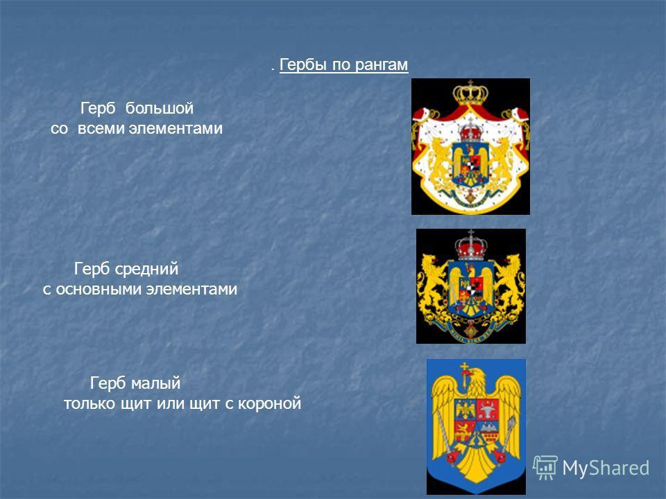 . Гербы по рангам Герб большой со всеми элементами Герб средний с основными элементами Герб малый только щит или щит с короной