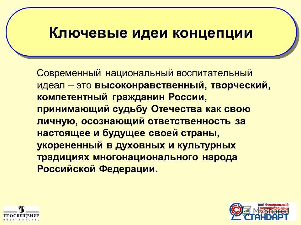 Современный национальный воспитательный идеал – это высоконравственный, творческий, компетентный гражданин России, принимающий судьбу Отечества как свою личную, осознающий ответственность за настоящее и будущее своей страны, укорененный в духовных и