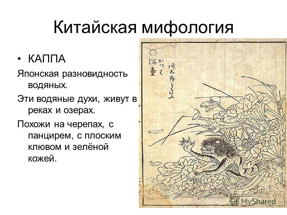 Китайская мифология КАППА Японская разновидность водяных. Эти водяные духи, живут в реках и озерах. Похожи на черепах, с панцирем, с плоским клювом и зелёной кожей.